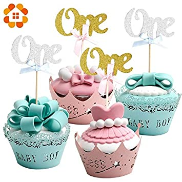 Tyro 12PCS Cupcake Toppers Letter One Birthday Party Decoration For 1 Year Old Baby First