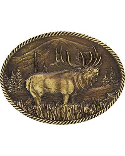 Montana Silversmiths Men's Sculpted Wild Elk Heritage Attitude Belt Buckle Gold One Size - Yellow Gold Belt Buckle