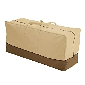 """Patio Furniture Cushion Storage Bag Heavy Duty 600D Oversized Waterproof Zippered Storage Bags with Handles 60"""" x 28"""" x 20"""""""