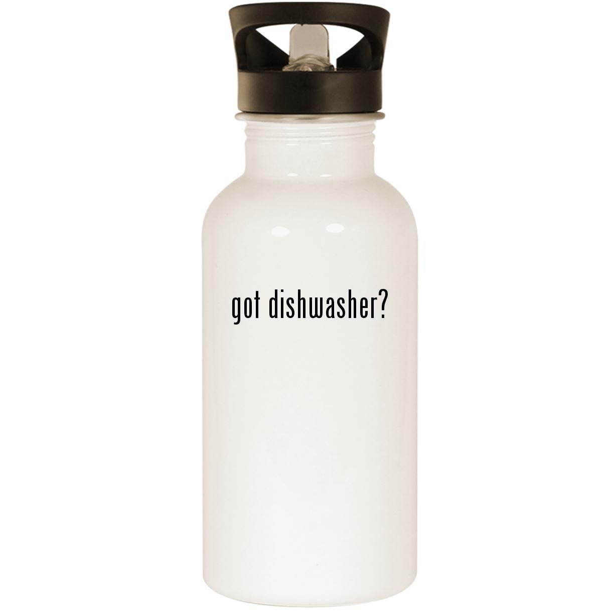 got dishwasher? - Stainless Steel 20oz Road Ready Water Bottle, White