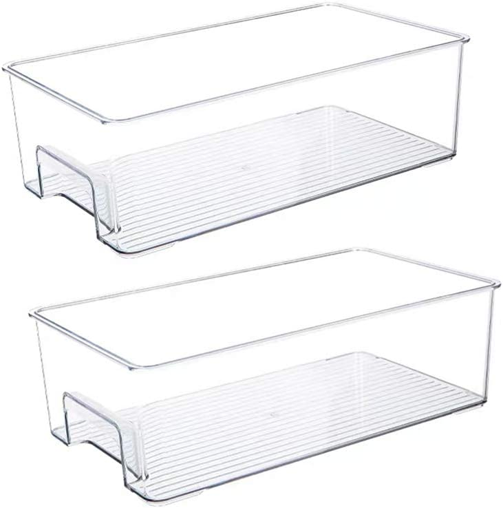 Slideep Large Plastic Food Storage Container Bin with Handle for Kitchen, Pantry, Cabinet, Fridge, Freezer, Refrigerator - Clear Produce Saver Pantry Storage Rack, Set of 2