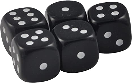 Set of 5 Black Dice Square Corner 16mm Opaque White Spots Organza Bag