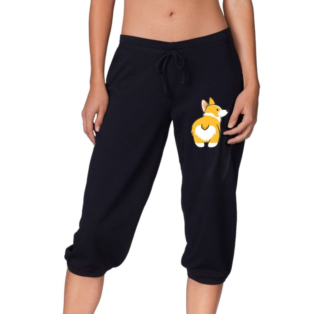 Women's Novelty Performance Corgi Butt Print Crop Sweatpant Capri Pants Drawstring Legging Pants Black Small by CNJELLAW
