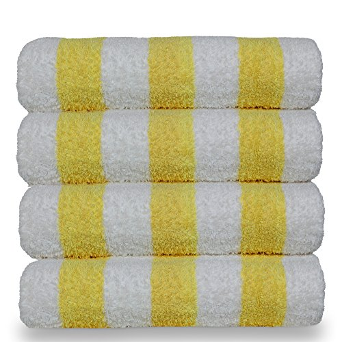 BC BARE COTTON Luxury Hotel & Spa Towel 100% Egyptian Cotton Pool Beach Towels - Cabana - Yellow - Set of 4