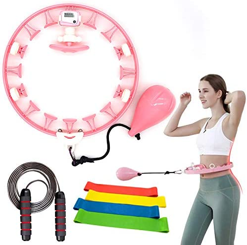 Smart Hula Hoop,Weighted Non-Dropping Detachable Hula Hoop with Record Data counter,Indoor & Outdoor exercise kit,Abdomen slimming waist Fitness Weight Loss,Increase Beauty tools for Adults Kids 6 pcs 1