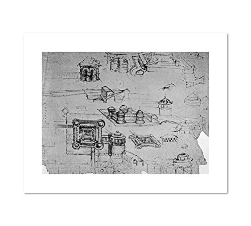 Study For A Fortress On A Square Ground Plan  Fol  43V A From The Codex Atlanticus By Leonardo Da Vinci  1500 1505  Art