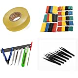 [QTY: 1] Hobby Tools Set Steel Ruler 3-Sided Flat Pointed File Safety Knife Side Cutters Tweezers Kit [QTY: 1] Heat Shrink Tubing Tube Wrap Sleeves 328Pcs 8 Sizes Multi Color Insulation Assortment Wir
