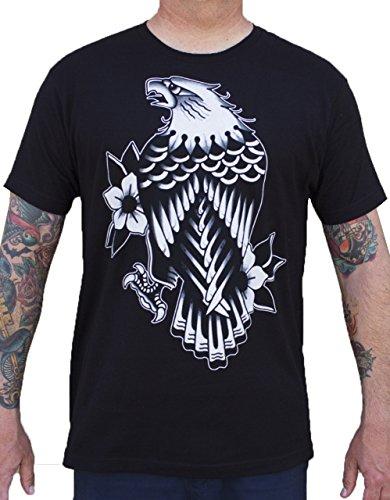 Black Market Art Men's Eagle Rain by Artist Josh Persons Tattoo Design T-Shirt Black