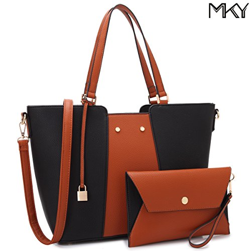 Design Large Leather Tote Top Handle Shoulder Bag Satchel Purse Two Tone Black and Brown