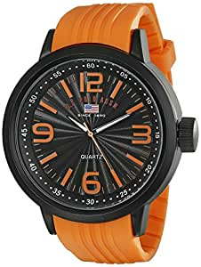 U.S. Polo Assn. Sport Men's US9053 Stainless Steel Watch with Orange Band