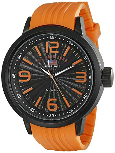 U.S. Polo Assn. Sport Men's US9053 Stainless Steel Watch with Orange Band by U.S. Polo Assn.