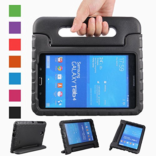 eTopxizu Samsung Galaxy Tab 4 8.0 Kids Case - Light Weight Shock Proof Convertible Handle Stand Kiddie Children Friendly Case for Samsung Galaxy Tab 4 8-Inch SM-T330 SM-T331 SM-T335 Tablet, Black Color
