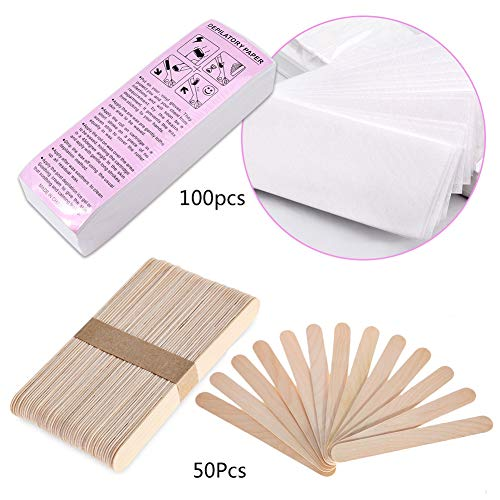 - Sekass 100 Pieces Non-Woven Waxing Strips Body and Facial Hair Removal Wax Strips and 50 Pieces Wax Applicator Sticks