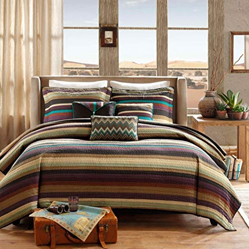 6 Piece Tan Red Turquoise Blue Southwest Coverlet Full Queen Set, Stripes Southwestern Bedding Colorful Native American Colors Striped Pattern Tribal Brown Sage Purple Teal Earthy Tones, Polyester