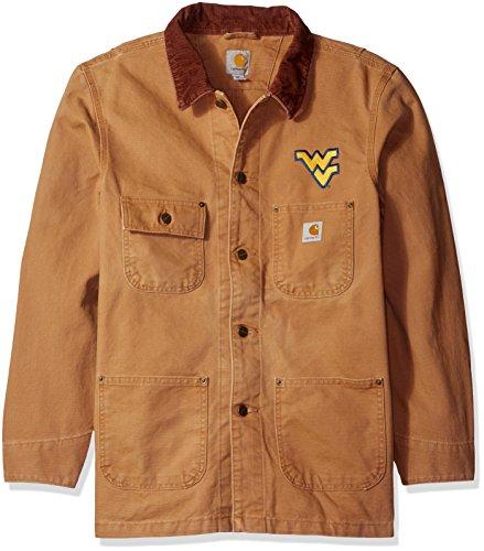 NCAA West Virginia Mountaineers Men's Weathered Chore Coat, (Brown Blanket Chore Coat)