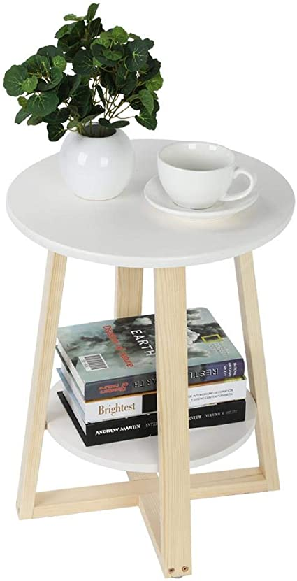 Lyrlody 2 Tiered End Table Self Storage Beside Table Round Sofa Side Table Decorated Coffee Table With Storage Shelf For Home Living Room Bedroom Office 40 X 40 X 50 5 Cm Amazon Co Uk Kitchen