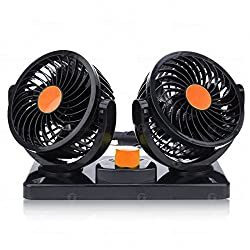 Zone Tech 12v Dual Head Car Auto Cooling Air Fan - Powerful Quiet 2 Speed Rotatable 12v Ventilation Dashboard Electric Fans With Kids Safe Design