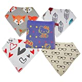 Premium Baby Bandana Drool Bibs for Drooling and Teething Babies, 4 Pack Gift Set with FREE Drool Towel (Unisex and Ultra Absorbent)