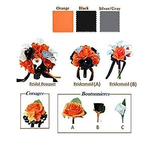 Angel Isabella Handmade-to-Order Artificial Flower Bouquet Corsage Boutonniere Orange Black Silver Grey Theme 8