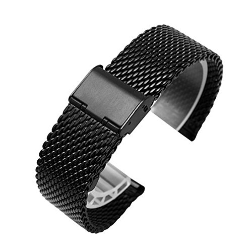 Galaxy Gear S2 Classic R732 Bands, Quick Release Pins Threeeggs Stainless Steel Watch Band Strap Bands for Samsung Galaxy Gear S2 Classic SM-R732 Smart Watch (A Milanese Black Quick Release Pins)