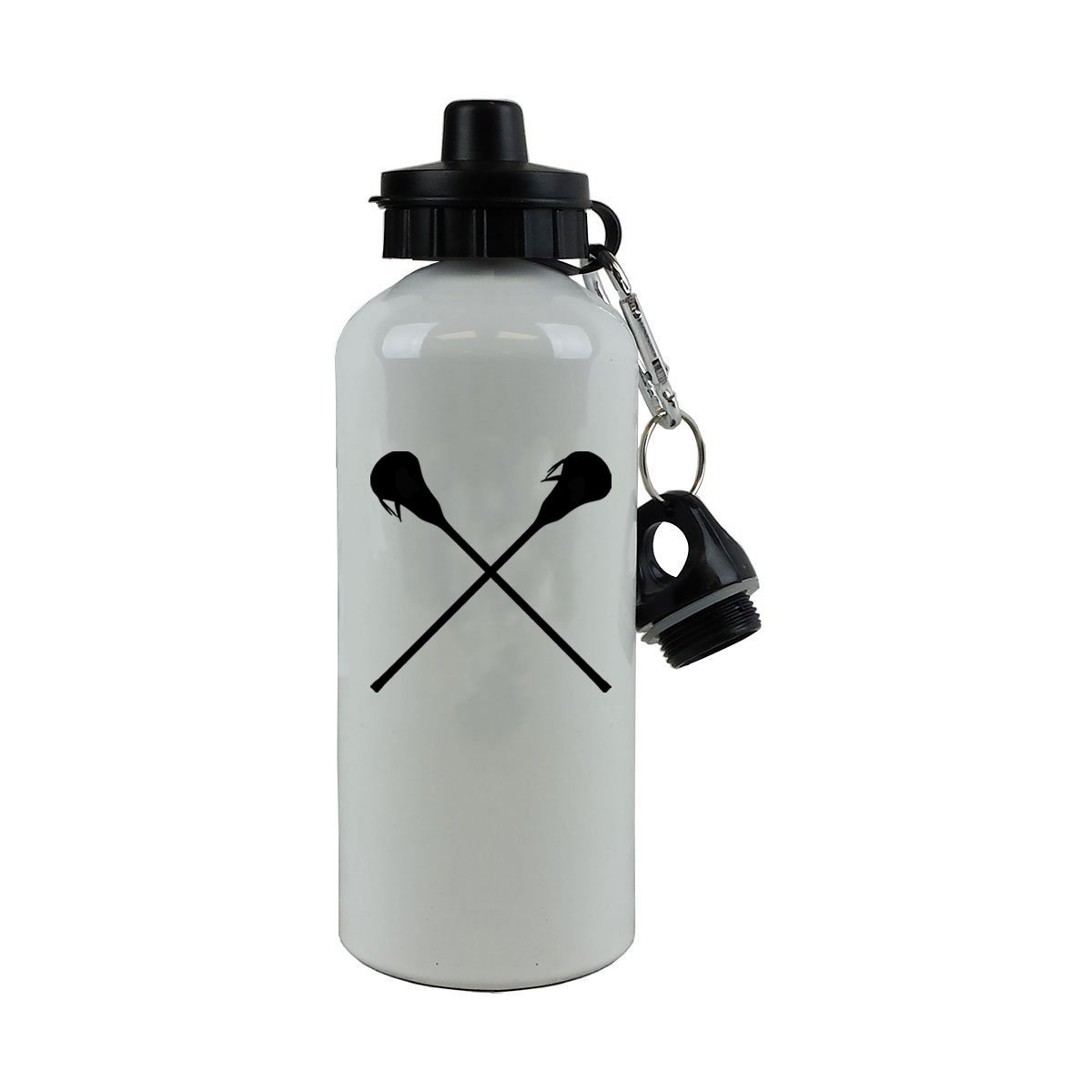 Personalized Custom Crossed Lax, Lacrosse Sticks Aluminum White Finish 20 Ounce 600ML Sport Water Bottle Customizable
