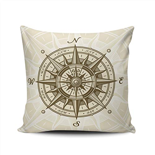 (AIHUAW Home Decorative Cushion Covers Throw Pillow Case Vintage Nautical Compass Rose Square 22x22 Inches Double Sided Printed (Set of 1))