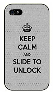 iPhone 4 / 4S Keep calm and slide to unlock - black plastic case / Keep calm