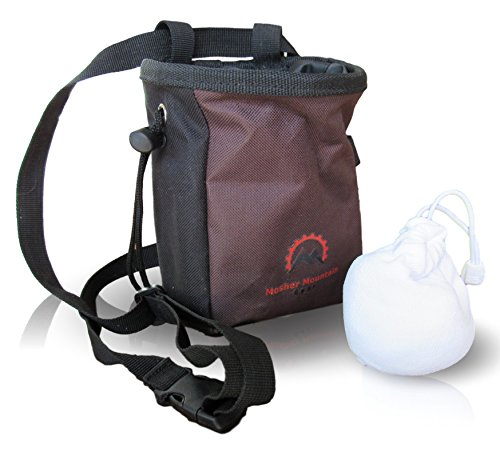 Durable Climbing Chalk bag featuring Large Zippered Pocket and water resistant outer layer great gear for climbing gymnastics and weight lifting – combo pack comes with refillable chalk ball (Brown)