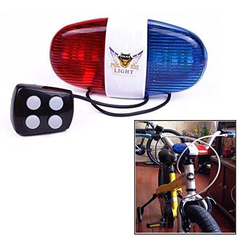 4 Suoni 6 LED babyGreen Luci a LED per Bici Ciclismo Tromba elettrica Campana per Sirena della Polizia