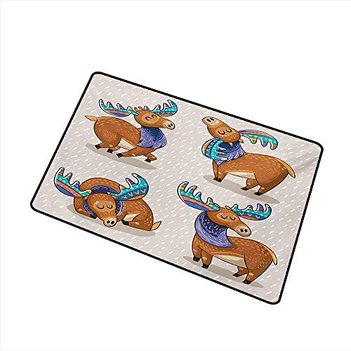Entrance Door mat Moose Kids Cartoon Inspired Cute Elks with Antlers Friendly Nursery Kids Theme Artwork W20 xL31 Easy to Clean ()