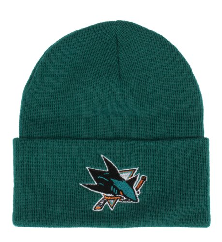 American Needle San Jose Sharks Teal Beanie Hat - NHL Cuffed Winter Knit Toque Cap
