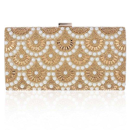 Damara Gorgeous Handbag Evening Beads Party Women's Gold X5TqrxwX7