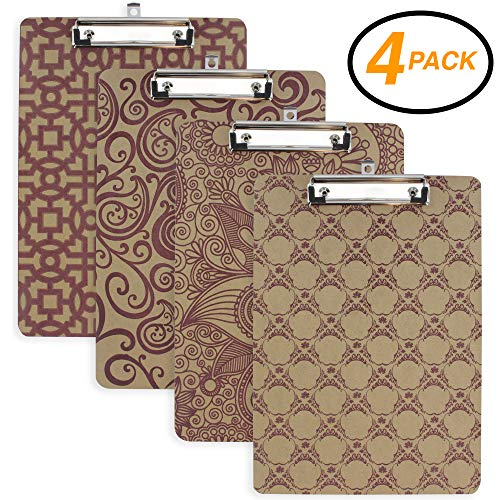 Emraw Hard Wood Clipboard Standard Size Assorted Pattern Clipboards Flat Hanging Hardboard Set with Low Profile Clip for School, Office, Work, Home, Hospital - 4 Pack by Emraw (Image #5)