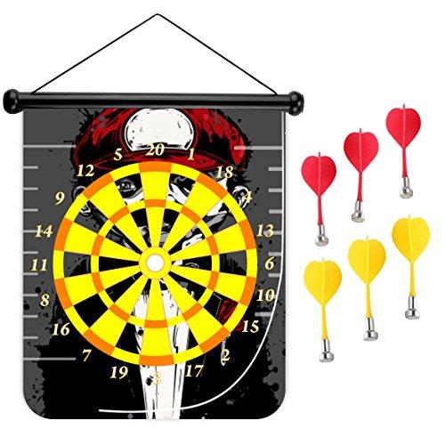 15インチMagnetic Dart Board Double Sided Hanging Dart Board Set and Bullseyeゲーム。レッド帽子