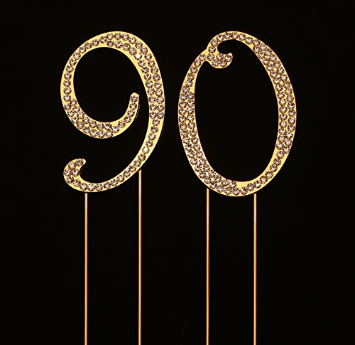 Numbrer 90 for 90th Birthday or Anniversary Cake Topper Party Decoration Supplies, Gold, 2.75 Inches Tall