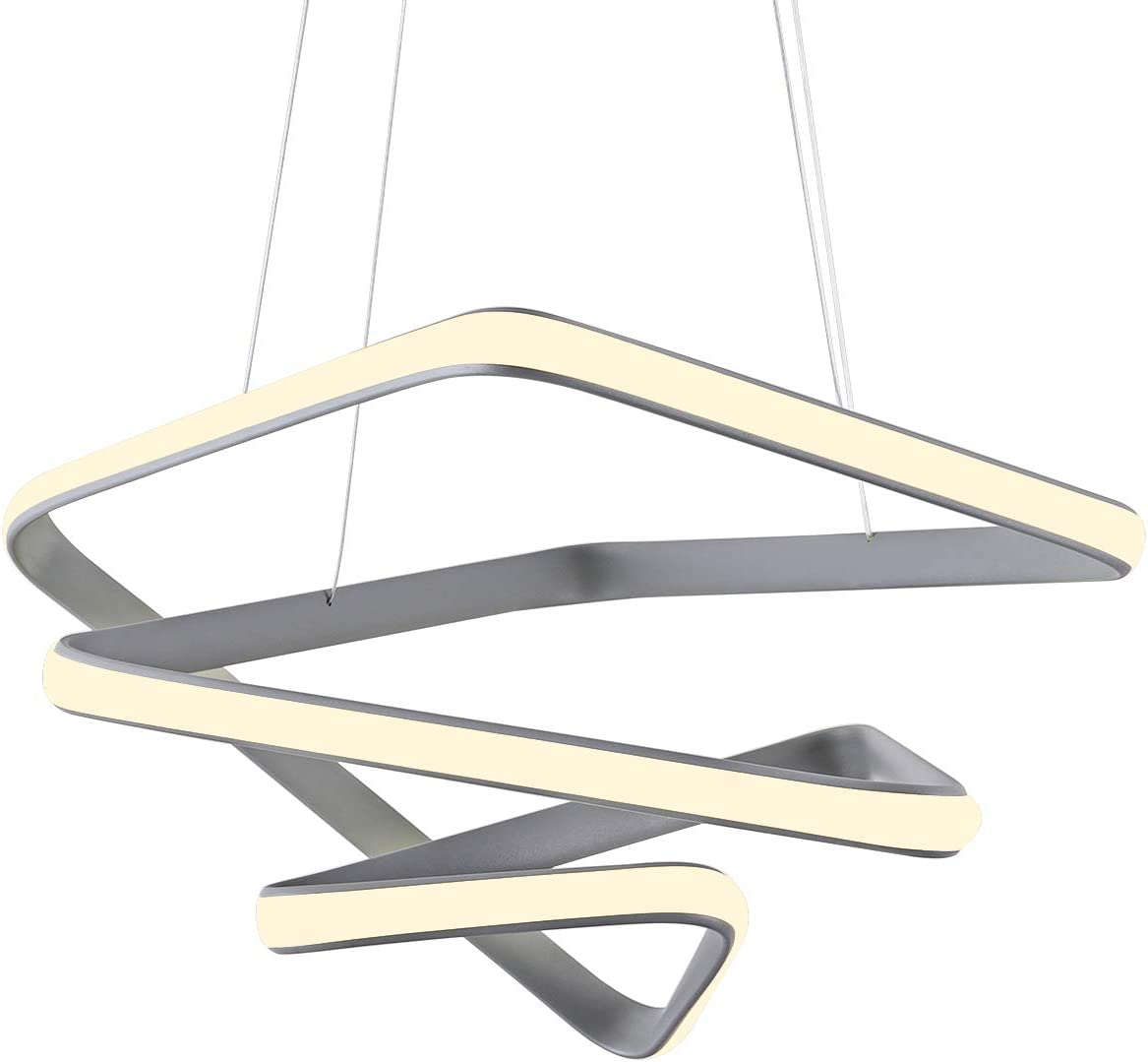Modern LED Pendant Light for Kitchen Island Creative Foyer Hanging Light Fixture with Acrylic Shape Dimmable Contemporary Geometric Chandelier 4000K for Living Room, Dining Room, Hallway, 36W, Grey