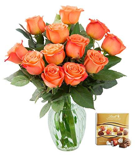 KaBloom Valentine's Day Special: Bouquet of 12 Fresh Cut Orange Roses (Long Stemmed) with Vase