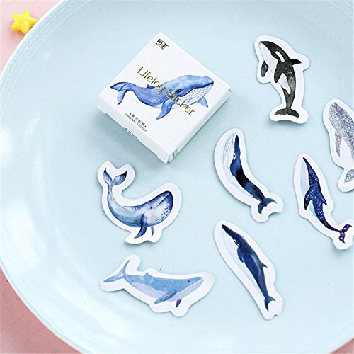 Blue Appliances Moon (Junbuoom Cute for Kids School Supplies Seal Blue Mini Whale Moon Paper Sticker Diary Decoration DIY Scrapbooking Label Stationery)