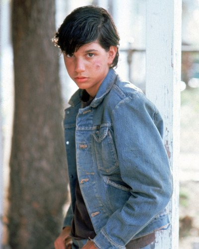 The Outsiders Ralph Macchio bruised face in denim jacket 8x10 Promotional Photograph