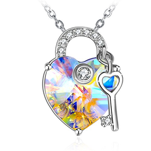 (ZHULERY Crystal Heart Necklaces 925 Sterling Silver Key to Your Heart Pendant Necklace Swarovski Elements Fashion Women Jewelry for Girls Birthday)