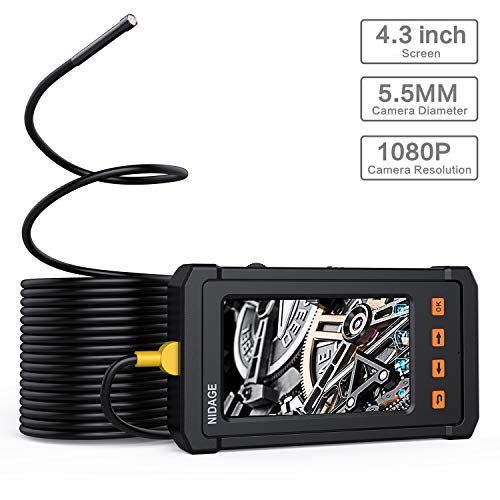Industrial Endoscope, NIDAGE 4.3inch LCD Screen with 5.5mm Borescope 1080P HD Micro Inspection Camera 2800mAh Battery Semi-Rigid Tube(11.5FT)