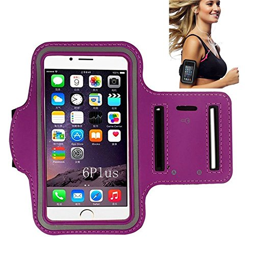 iPhone 6 Armband, Morris Water Resistant Sports Armband with Key Holder for iPhone 6, 6S (4.7-Inch), Galaxy S3/S4, iPhone 5/5C/5S, Bundle with Screen Protector (Purple)