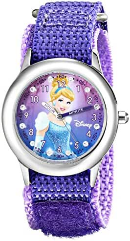 Disney Kids' W000390 Cinderella Glitz Stainless Steel Time Teacher Watch With Purple Nylon Band