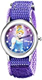 Disney Kids' W000390 Cinderella Glitz Stainless Steel Time Teacher Watch With Purple Nylon Band