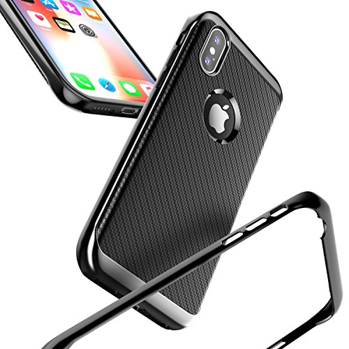 iPhone X Case, LoHi iPhone 10 Hybrid Silicone Rubber Holder Slim Fit Full Body Protective Cover Texture Carbon Fiber Case Black