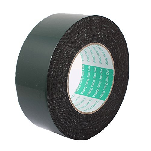 DealMux 50mm x 1mm Black Dual Sided Self Adhesive Sponge Foam Tape 10M Length