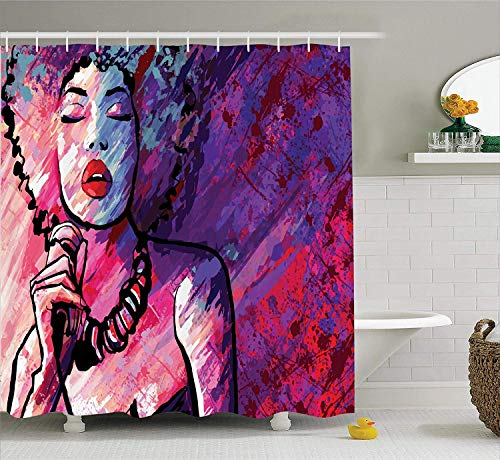 Grunge Home Decor Shower Curtain by Jazz Singer Performing with Microphone on Grunge Background Illustration Print Polyester Fabric Bathroom Set with Hooks 70.8x70.8in Long Purple and Pink