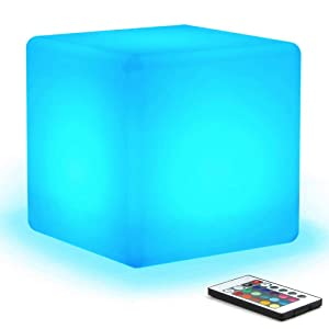 """[16 RGB Colors 4 Modes] Mr.Go Waterproof Rechargeable LED Color-changing Light Cube 8"""" 