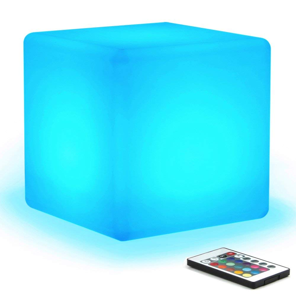 [16 RGB Colors 4 Modes] Mr.Go Waterproof Rechargeable LED Color-changing Light Cube 8'' | Dimmable Soothing Mood Lamp w/Remote | Ideal for Home Patio Party Accent Ambient & Decorative Lighting