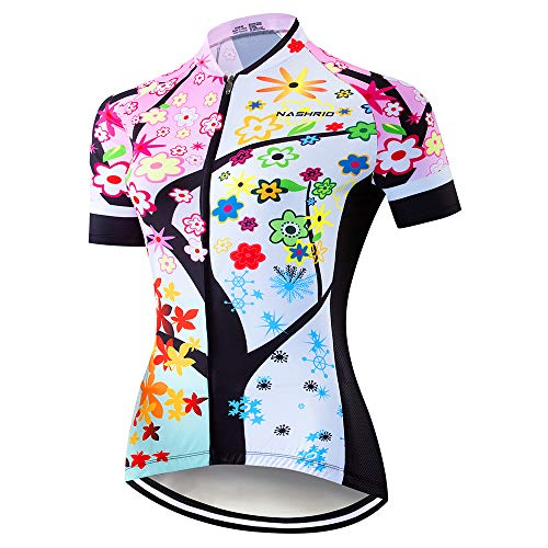 NASHRIO Women's Cycling Jersey Short Sleeve Road Bike Biking Shirt, Full-Zip Tops Bicycle Clothes - Breathable and Quick-Dry with 3 Pockets (Flowers)